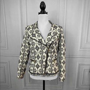 Black and white Moto jacket